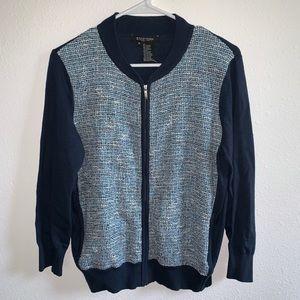 Etcetera mix media zip up zipper cardigan tweed